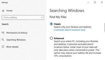 быстрый поиск windows 10
